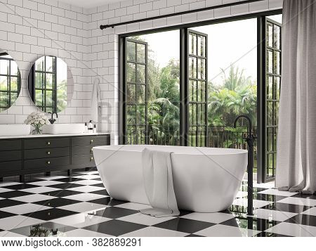 Classical Bathroom 3d Render,there Are Checker Floor Tile And White Wall Tile With Brick Pattern,dec