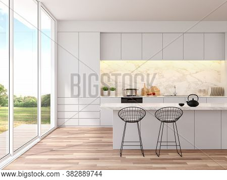 Modern White Kitchen With Nature View 3d Render, The Room Has A Wooden Floor Decorated With A White