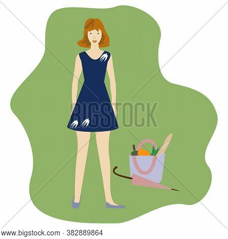 Young Woman Going To Picnic And Travel. Vector Cartoon Illustration.