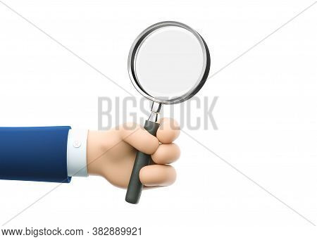 Cartoon Businessman Character Hand Holding A Magnifying Glass. Inspection, Exploration, Zoom, Scruti