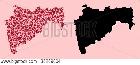 Vector Covid-2019 Virus Mosaic And Solid Map Of Maharashtra State. Map Of Maharashtra State Vector M