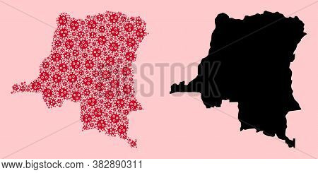 Vector Pandemic Virus Mosaic And Solid Map Of Democratic Republic Of The Congo. Map Of Democratic Re