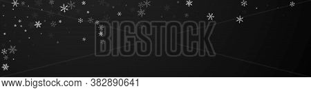 Sparse Snowfall Christmas Background. Subtle Flying Snow Flakes And Stars On Black Background. Bold