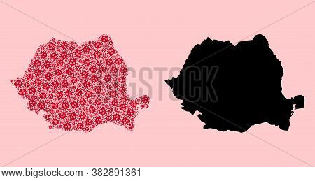 Vector Virus Mosaic And Solid Map Of Romania. Map Of Romania Vector Mosaic For Medicine Campaigns An