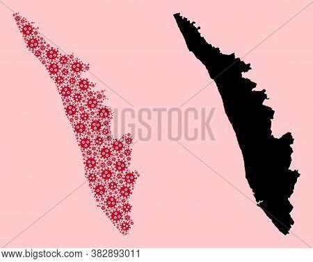 Vector Viral Mosaic And Solid Map Of Kerala State. Map Of Kerala State Vector Mosaic For Health Care