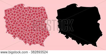 Vector Virus Mosaic And Solid Map Of Poland. Map Of Poland Vector Mosaic For Clinic Campaigns And Ap