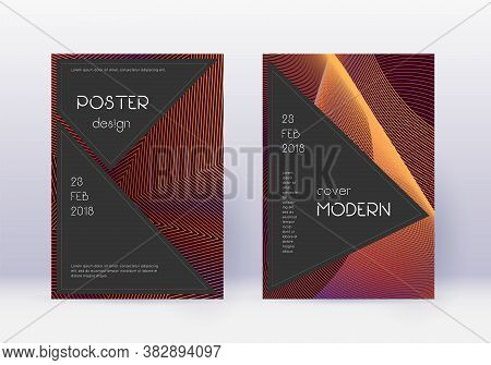Black Cover Design Template Set. Orange Abstract Lines On Wine Red Background. Admirable Cover Desig