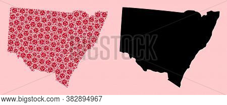 Vector Flu Virus Mosaic And Solid Map Of New South Wales. Map Of New South Wales Vector Mosaic For D