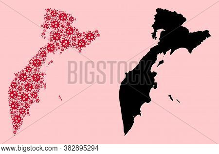 Vector Virus Mosaic And Solid Map Of Kamchatka Peninsula. Map Of Kamchatka Peninsula Vector Mosaic F