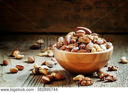 Nuts Set In Bowl Almonds, Pistachios, Cashews, Hazelnuts, Peanuts, Brazil Nuts, Walnuts, Vintage Woo