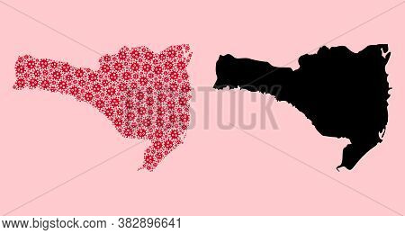 Vector Pandemic Virus Mosaic And Solid Map Of Santa Catarina State. Map Of Santa Catarina State Vect