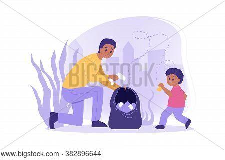 Ecology, Volunteering, Environment Care Concept. Team Of Man, Boy Father Son Eco Activists Volunteer