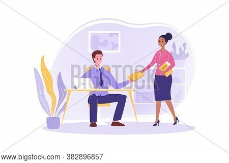 Secretary Giving Documents To Boss, Business Concept. Young Happy Woman Office Clerk Manager Cartoon