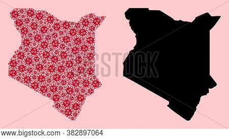 Vector Flu Virus Mosaic And Solid Map Of Kenya. Map Of Kenya Vector Mosaic For Quarantine Campaigns