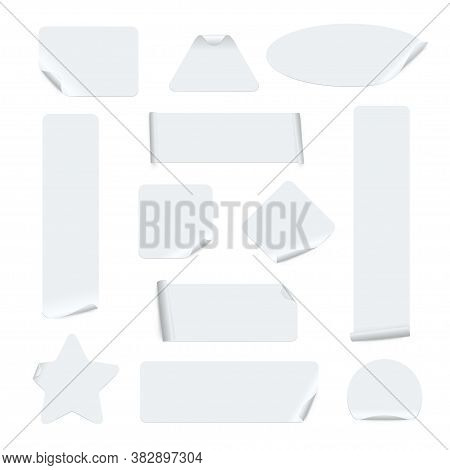 Stickers Of Different Shapes Realistic Templates Set. Sticky Circle, Square, Rectangle, Oval, Triang