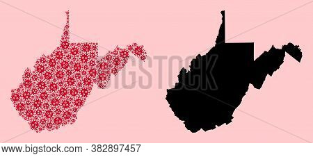 Vector Covid-2019 Virus Mosaic And Solid Map Of West Virginia State. Map Of West Virginia State Vect
