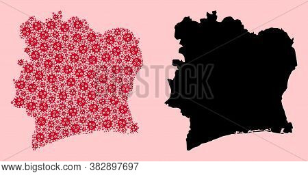 Vector Covid-2019 Virus Mosaic And Solid Map Of Ivory Coast. Map Of Ivory Coast Vector Mosaic For Ou