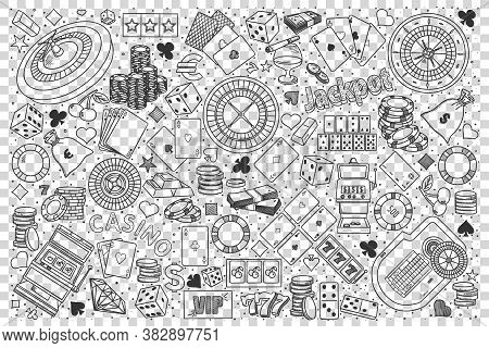 Casino Doodle Set. Collection Of Hand Drawn Sketches Templates Of Club Gambling Poker Roulette Black