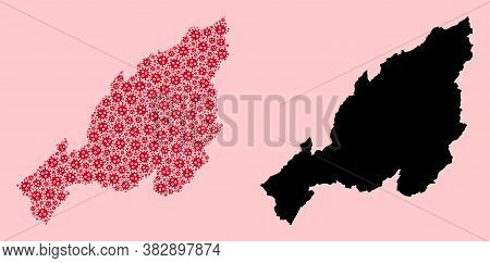 Vector Pandemic Virus Mosaic And Solid Map Of Nagaland State. Map Of Nagaland State Vector Mosaic Fo