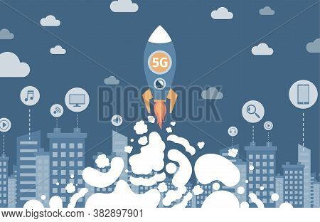 Space Rocket With 5g Flying To The Sky Flat Illustration. 5g Wireless Network Technology For Faster