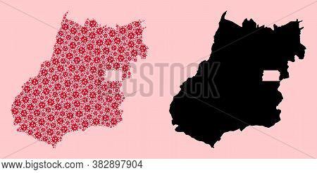 Vector Sars Virus Mosaic And Solid Map Of Goias State. Map Of Goias State Vector Mosaic For Hospital