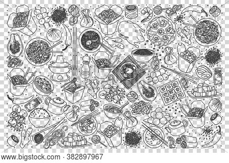 Chinese Food Doodle Set. Collection Of Chalk Pencil Hand Drawn Sketches Templates Of China Delicious