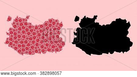 Vector Sars Virus Mosaic And Solid Map Of Ciudad Real Province. Map Of Ciudad Real Province Vector M