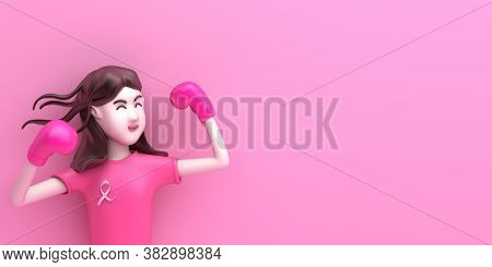 Breast Cancer Awareness Month Concept With Cartoon Cute Girl With Boxing Glove On Pink Background, C