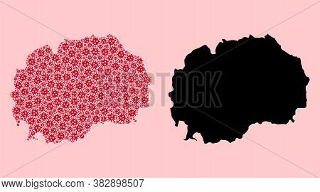 Vector Pandemic Virus Mosaic And Solid Map Of Macedonia. Map Of Macedonia Vector Mosaic For Hospital