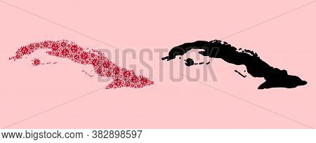 Vector Infection Mosaic And Solid Map Of Cuba. Map Of Cuba Vector Mosaic For Lockdown Campaigns And