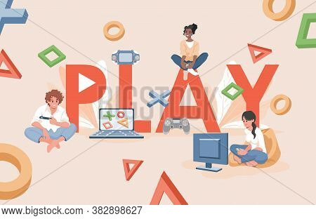 Play Word Banner Template. Young Happy People Playing Video Games On Game Console Vector Flat Illust