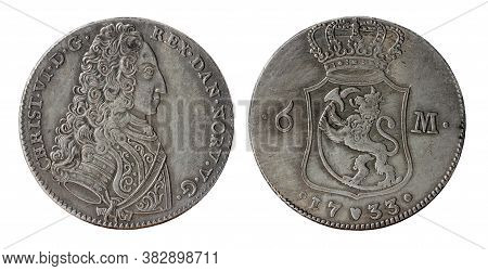 Copy Of The 6 Danish Marks Silver Coin Of The Christian Vi - King Of Denmark And Norway. Coin Minted