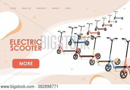 Electric Scooter Online Shop Landing Page Template With Text. Different Modern Scooters Vector Flat