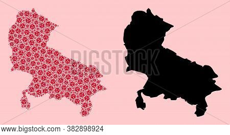 Vector Flu Virus Mosaic And Solid Map Of Uttar Pradesh State. Map Of Uttar Pradesh State Vector Mosa