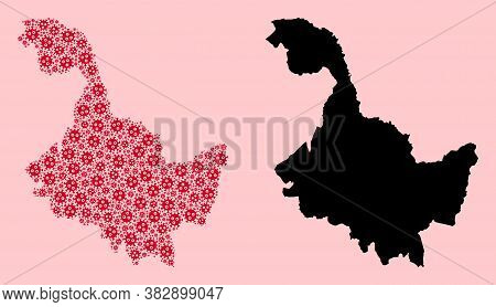 Vector Flu Virus Mosaic And Solid Map Of Heilongjiang Province. Map Of Heilongjiang Province Vector