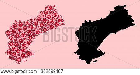 Vector Sars Virus Mosaic And Solid Map Of Tarragona Province. Map Of Tarragona Province Vector Mosai