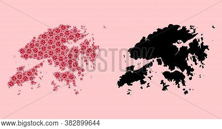 Vector Covid-2019 Virus Mosaic And Solid Map Of Hong Kong. Map Of Hong Kong Vector Mosaic For Quaran