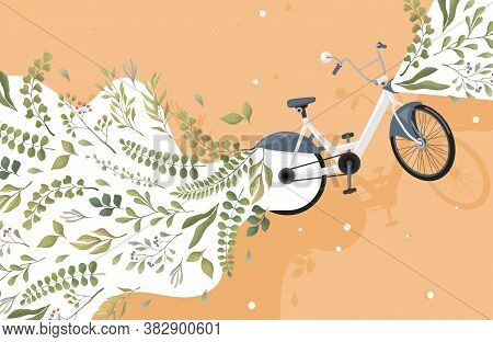 Modern Green And Eco Friendly City Transport Vector Flat Concept. Bicycle And Green Leaves Illustrat