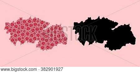 Vector Virus Mosaic And Solid Map Of Toledo Province. Map Of Toledo Province Vector Mosaic For Clini