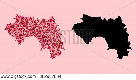 Vector Pandemic Virus Mosaic And Solid Map Of French Guinea. Map Of French Guinea Vector Mosaic For