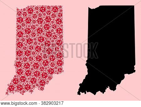 Vector Flu Virus Mosaic And Solid Map Of Indiana State. Map Of Indiana State Vector Mosaic For Hospi