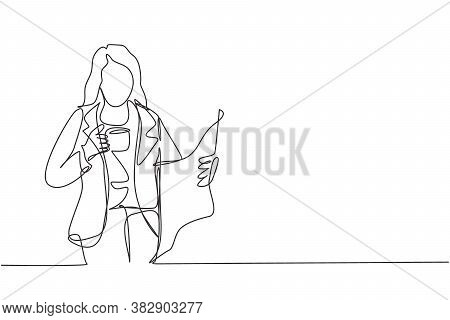 One Continuous Line Drawing Of Young Female Marketing Manager In Casual Reading Newspaper While Hold