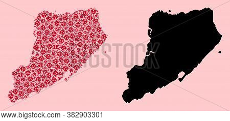 Vector Pandemic Virus Mosaic And Solid Map Of Staten Island. Map Of Staten Island Vector Mosaic For