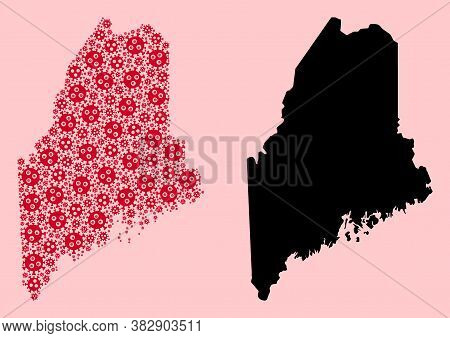 Vector Viral Mosaic And Solid Map Of Maine State. Map Of Maine State Vector Mosaic For Health Care C