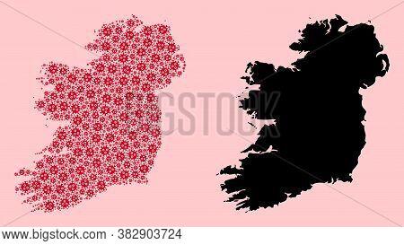 Vector Flu Virus Mosaic And Solid Map Of Ireland Island. Map Of Ireland Island Vector Mosaic For Qua
