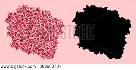 Vector Pandemic Virus Mosaic And Solid Map Of Kujawy-pomerania Province. Map Of Kujawy-pomerania Pro