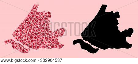 Vector Flu Virus Mosaic And Solid Map Of South Holland. Map Of South Holland Vector Mosaic For Hospi