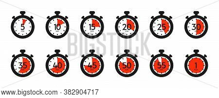 Timer And Stopwatch Icon Set. Countdown Timer With Different Time. Kitchen Stopwatch Symbol For Cook