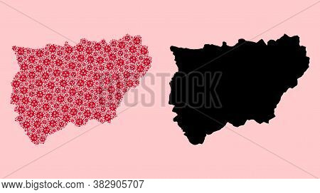 Vector Covid-2019 Virus Mosaic And Solid Map Of Jaen Spanish Province. Map Of Jaen Spanish Province