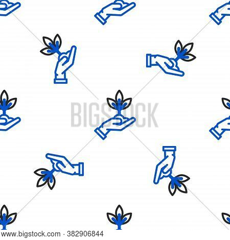 Line Plant In Hand Of Environmental Protection Icon Isolated Seamless Pattern On White Background. S